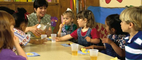 Preschool kids having a snack