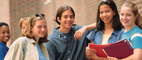 Teen students smiling